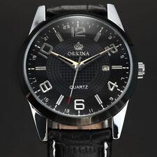 Orkina Fashion Men's Black Leather Sport Date Quartz Military Casual Wrist Watch