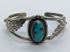 Native American Style Sterling Silver Cuff Bracelet Oval Turquoise Stone 5.75""