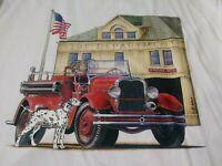 Jerzees Mens Fire Department Truck T Shirt Size 2XL XXL White Short Sleeve