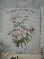 """Shabby Chic Vintage French / PARIS  Roses Plaque 8"""" x 10"""""""