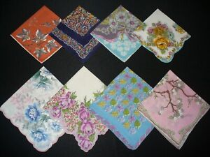 Lot of 8 Vintage Floral & Print Hankies Handkerchiefs Excellent Condition