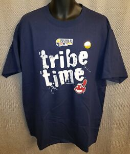 Cleveland Indians World Series 2007 Blue Majestic Tribe Time T-Shirt  Mens Large