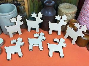 WOODEN CHRISTMAS REINDEER Shapes 9cm (x10) laser wood decoration shapes cutouts