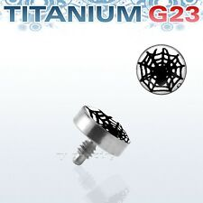 Solid G23 Titanium 4Mm Spider Web Logo Internally Threaded Dermal Anchor Top