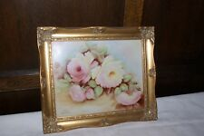 Vintage Handpainted Ceramic Panel Rose Floral Gilt Wood Frame Vivien Heptinstall