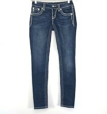 Miss Me Womens Mid Rise Signature Skinny Jeans Dark Wash Size 25