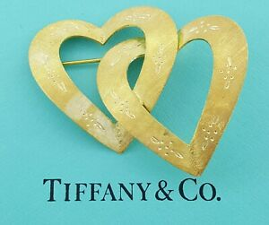 Vintage Tiffany & Co. 14K Yellow Gold Double Open Hearts Brooch / Pin 7.1 grams