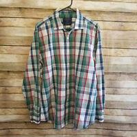 Charles Tyrwhitt Mens Long Sleeve Button Up Poplin Weave Multi Color Plaid Large