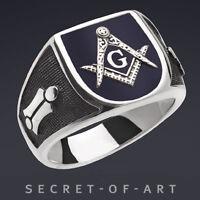 Masonic Blue Lodge Freimaurer 925 Sterling Silver Ring with Dark Blue Enamel