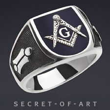 Masonic Blue Lodge Freimaurer 925 Sterling Silver Ring with Dark Blue Enamel