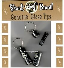 SKUNK BRAND Rolling Papers brand GLASS TIP + Key Chain Metal Storage Container