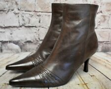 Womens Barratts Brown Leather Zip Fastening High Heel Ankle Boots UK 4 EUR 37