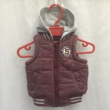 BABY BOYS BURGUNDY PADDED FLEECE LINED GILET WITH HOODIE HOOD  - AGE 0-3 MONTHS