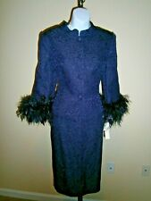 Eggplant 3/4 Feather Detail Sleeves 2pc Special Occasion Skirt Suit Sz 8