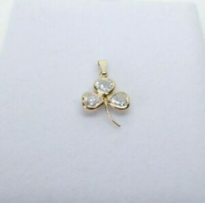 9ct Gold Cubic Zirconia Clover Pendant Gemstone with gift box