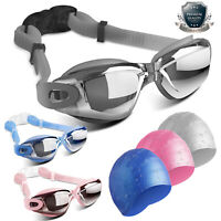 Swimming Goggles Glasses Anti-Fog UV Protection Swim Cap Set For Adult Men Women