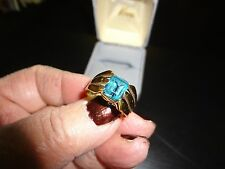 WOMEN'S 750 18K GOLD CONTEMPORARY CUT RING W/BLUE TOPAZ STONE SIZE 6 1/2