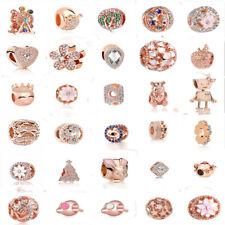Oro Rosa 1 un. Cubic Zirconia encanto granos Fit europeo pulsera Colgante Cadena Collar 925