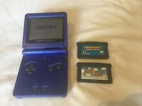 Nintendo Gameboy Advance SP Cobalt Blue AGS-001 With Super Mario & Mario Kart