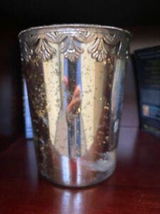 NEW Pottery Barn Madeline Mercury Silver Glass Hurricane Candle Holder Lg NWT