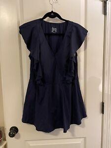 new denim & co  beach wrap front swim dress with Ruffle Trim In Navy Size 20w