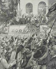 PAPE, Aus Friedrichsruh. Huldigung der Studenten vor Bismarck, 1895, Holzstich