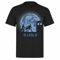 DR WHO LUNA MOON TIME TRAVEL TARDIS  DOCTOR WHO UNISEX BLACK PH37 T-SHIRT