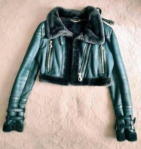 AUTH VERSACE sheepskin green shearling jacket 40 it
