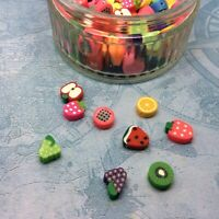 50 x polymer clay fruit beads mixed random colour shape 9-13mm hole 1-2mm