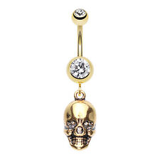 Golden Skull Amour Belly Navel Button Ring Clear 14G