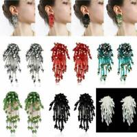 Fashion Crystal Diamante Flower Tassel Beaded Long Drop Statement Earrings