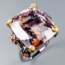 Handmade28ct+ Natural Ametrine 925 Sterling Silver Ring Size 8.75/R119829