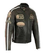 Chaqueta En Cuero Para Moto, Leather Jacket, Vintage, Marron, Biker, Talla L