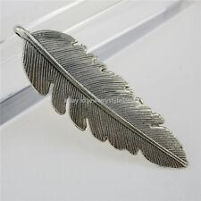 12623 10PCS Vintage Antique Style Silver Tone Alloy Feather Pendant Charm 56mm