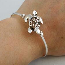 Sea Turtle Bangle Bracelet - 925 Sterling Silver - Filigree Ocean Beach Animal