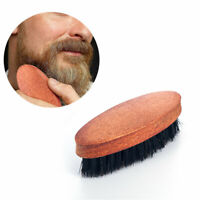 Mens Boar Hair Bristle Comb Beard Mustache Brush Military Hard Wood Handle