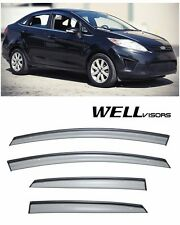 For 11-UP Ford Fiesta Sedan WellVisors Side Window Visors W/ Black Trim