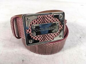 Dolce & Gabbana Made In Italy Pink Leather Snake Print Buckle Belt Sz 90cm 36