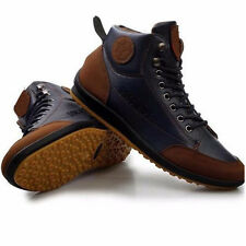 Men Winter Leather High Top Sneaker Lace-up Warm Work Shoes Ankle Boots Casual
