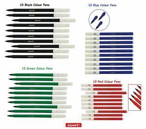 LUXOR Washable Water Colour Felt Tip Fibre BLACK RED BLUE GREEN Pens Pack of 10