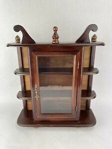 Vintage Small Wooden Display or Curio Cabinet 17in x14 in x5in Wall Or Tabletop