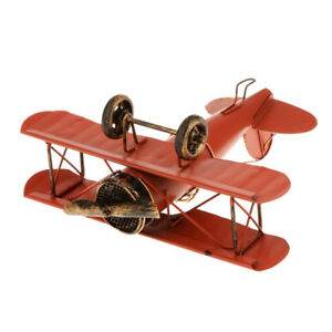 Aircraft Biplane Airplane Decor Model Kids Toy Collectible Red
