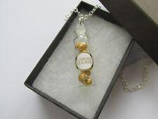*Handmade Unusual Glass Jar of Mini Ferrero Rocher Gold Chocolate Chain Necklace