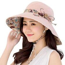 47c492ca25e Women Ladies Summer Big Wide Brim Cotton Hat Floppy Derby Beach Sun  Foldable Cap