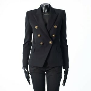 BALMAIN 2295$ Double Breasted Blazer In Black Wool With Gold-Tone Buttons