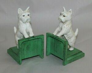 ANTIQUE STYLE WESTIE DOG WHITE TERRIER CAST IRON BOOKENDS BOOK ENDS DECOR