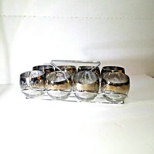 Whiskey Glasses Set 8 Old Fashioned Rock Glass Rack Fancy Decorated Gold Sparkle