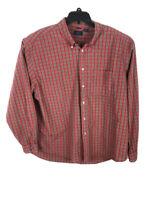 Izod Jean Mens XXL Red Plaid Long Sleeve Button Down Cotton Shirt A21