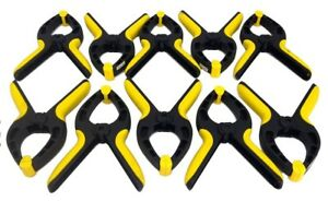 "Set of 10 Nylon 6"" SPRING CLAMPS Heavy Duty - 3"" Jaw Opening"
