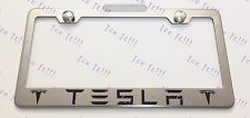 TESLA With Logos Stainless Steel License Plate Frame Rust Free W/ Bolt Caps